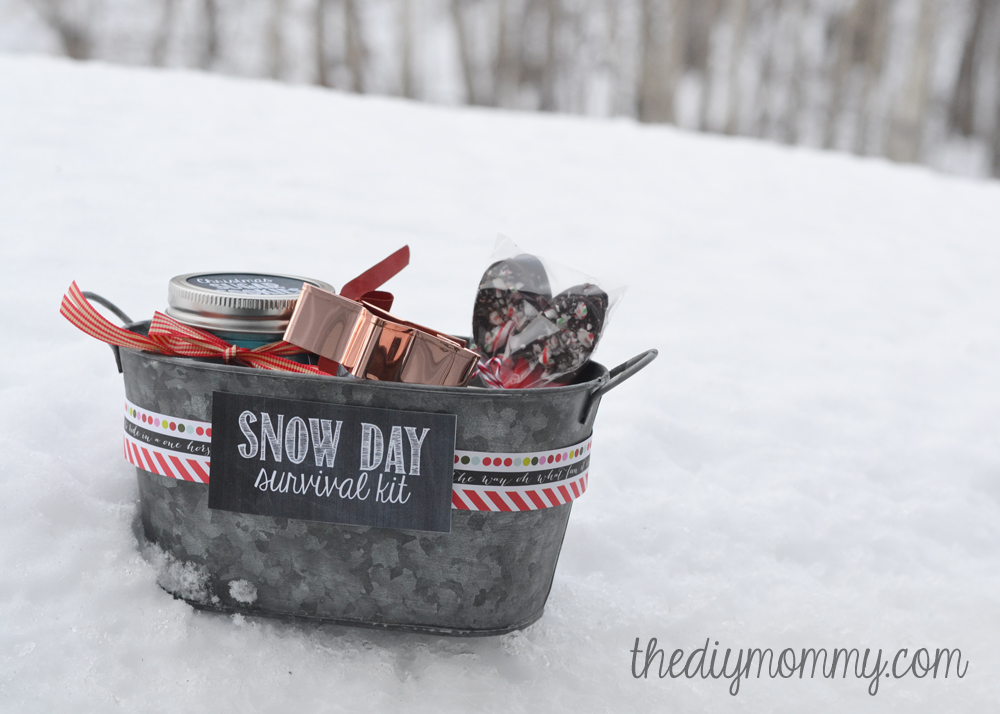 DIY Snow Day Survival Kit Christmas Gift - sugar cookies in a jar, a cookie cutter, hot chocolate mix in a jar, and hot chocolate spoons!