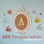 How to make DIY monogram wall art for a nursery or kid's room with burlap, and Ikea frame and scrap fabric.