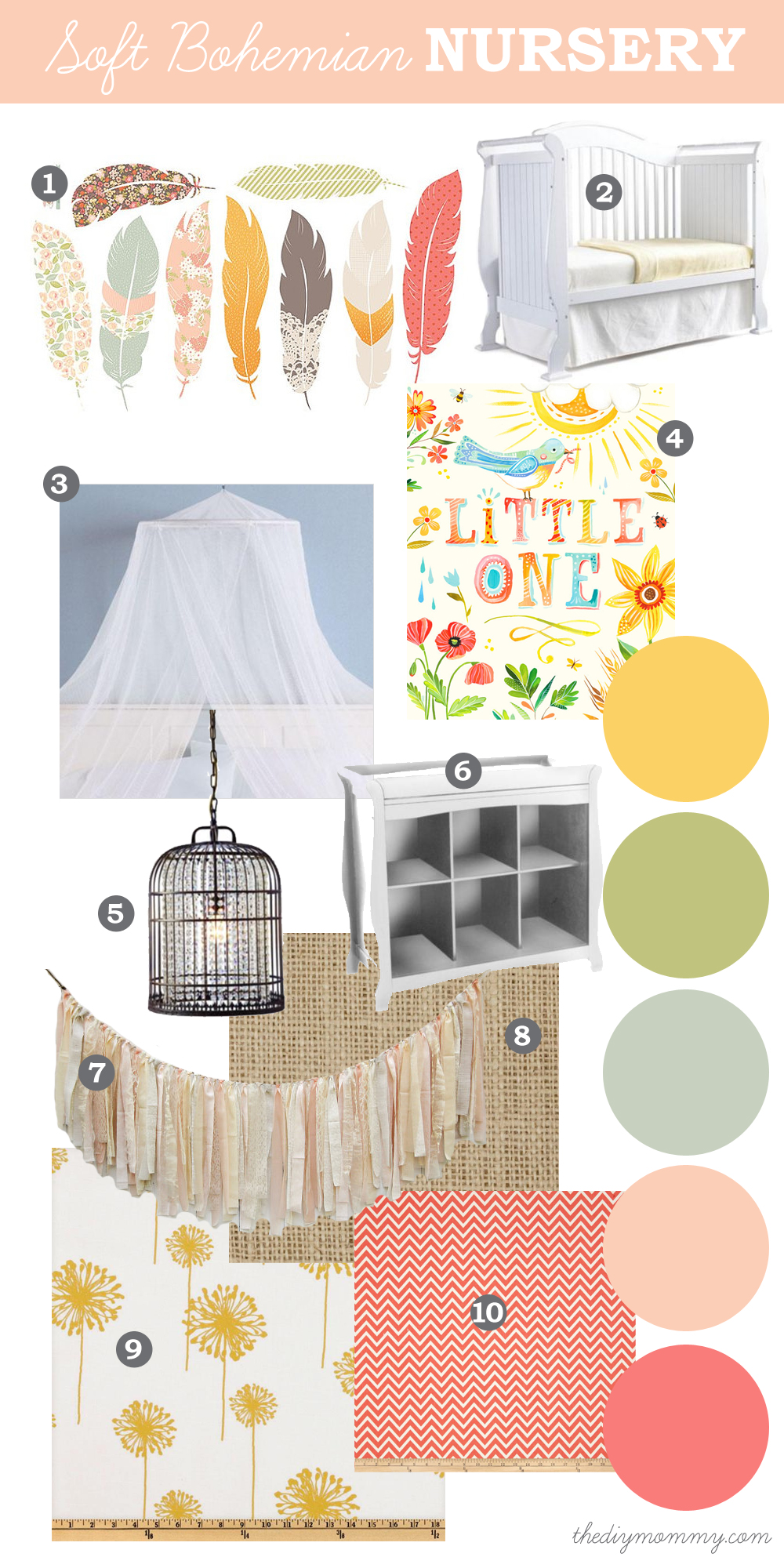 Mood Board: Soft, Eclectic Boho Nursery. Natural elements like feathers and burlap with soft, pastel colours like peach, coral, yellow and green.