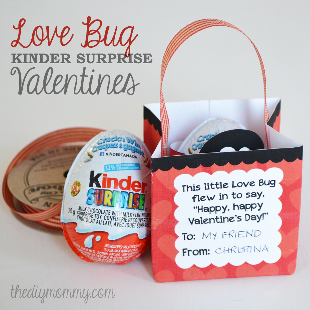 a love bug kinder surprise valentine free printable. Black Bedroom Furniture Sets. Home Design Ideas
