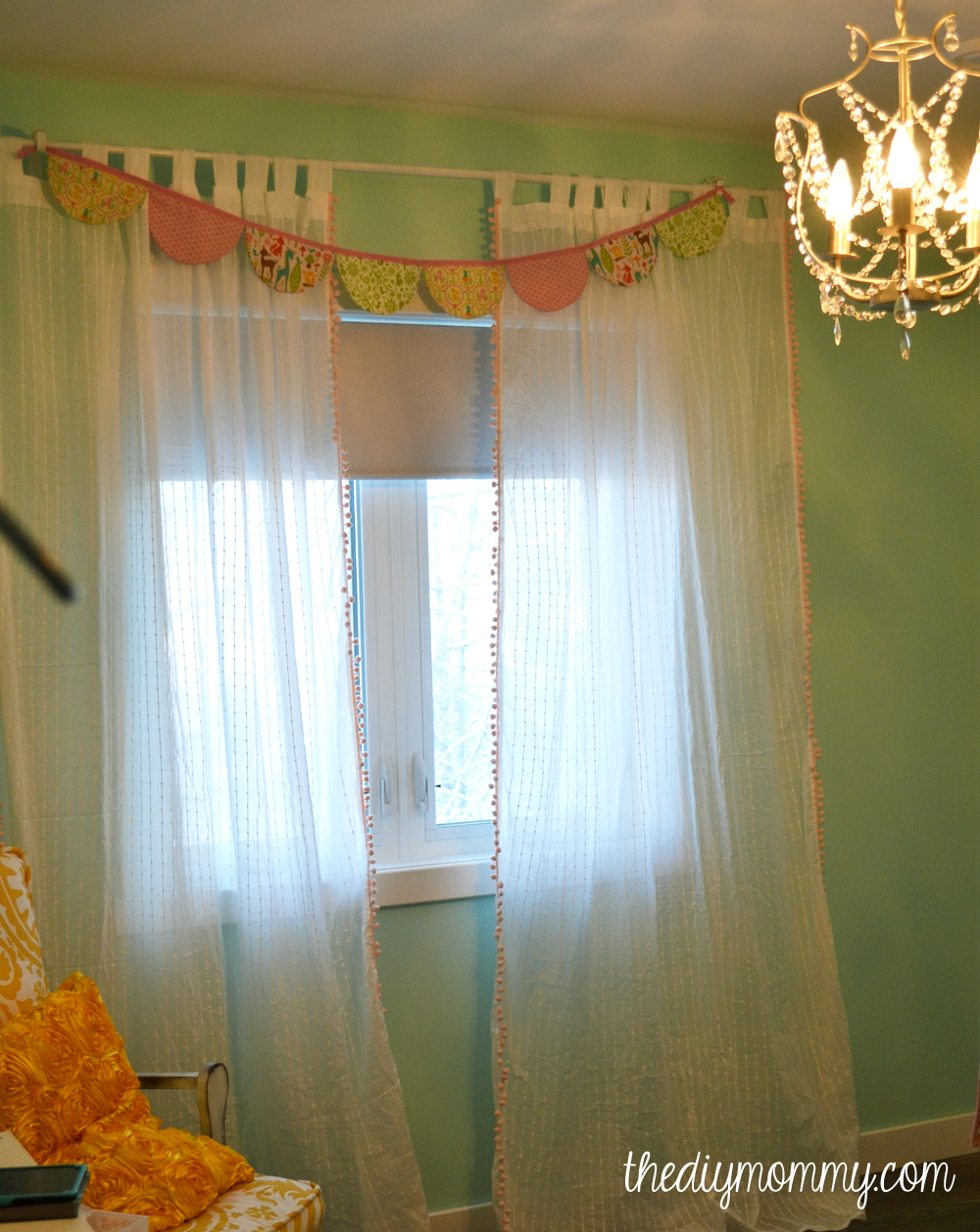 Make boutique nursery drapes with pre made curtains and