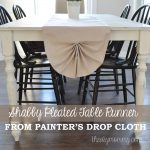 DIY Shabby Chic Pleated Table Runner from Painter's Drop Cloth