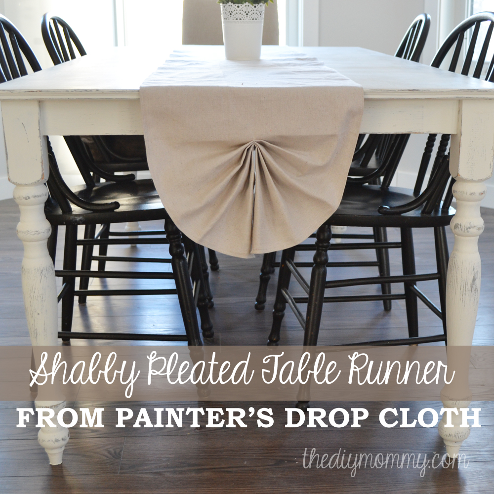 DIY Shabby Chic Pleated Table Runner From Painteru0027s Drop Cloth