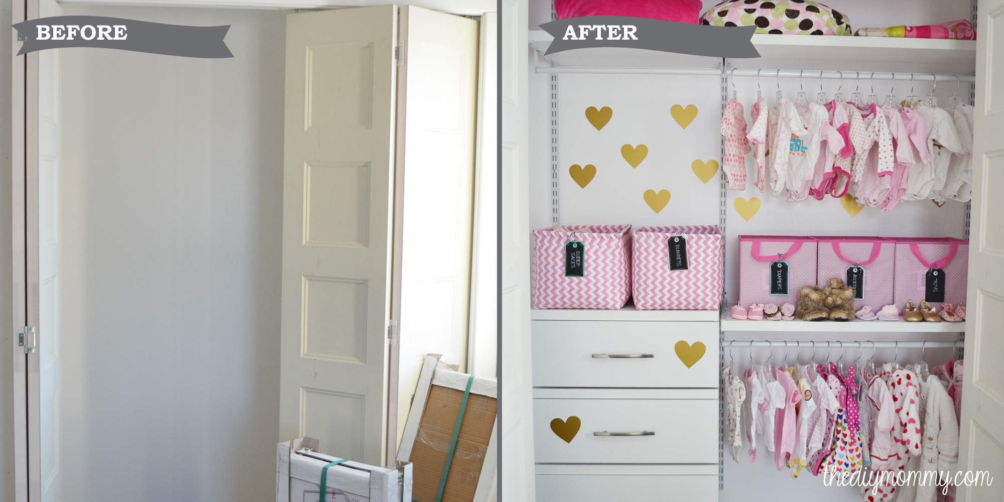 An Organized Baby Closet With Closetmaid Shelftrack Elite The Diy Mommy