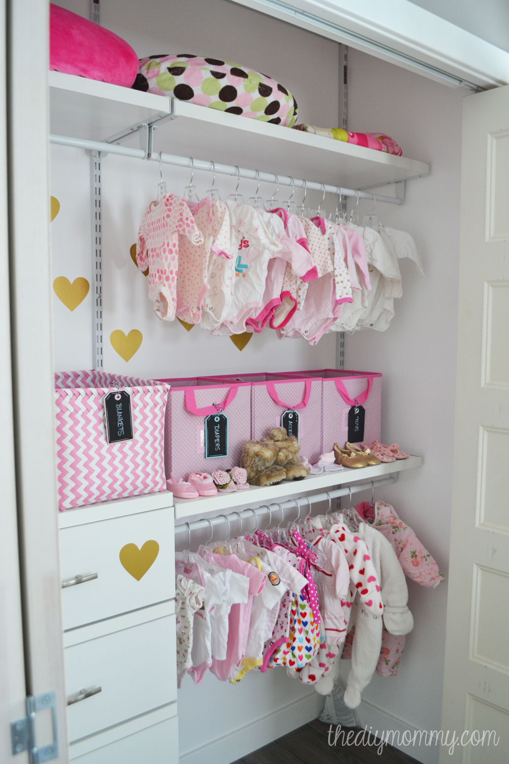 An Organized Baby Closet with Closetmaid ShelfTrack Elite