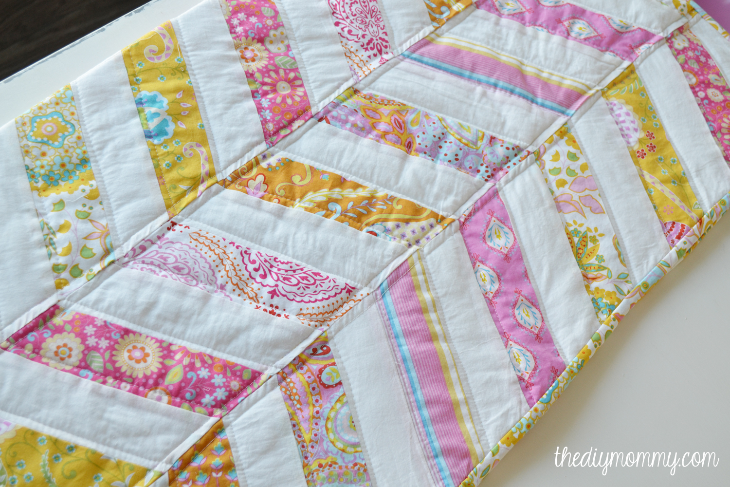 image regarding Free Printable Chevron Quilt Pattern known as Sew an Straightforward Herringbone Little one Quilt