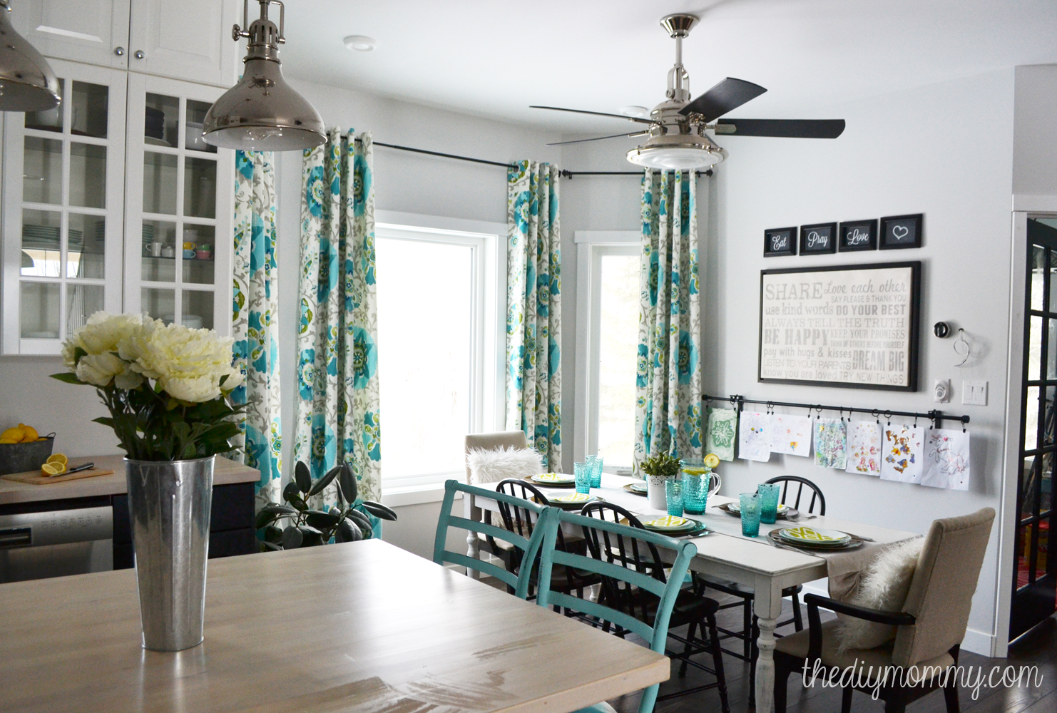 A black, white and turquoise DIY kitchen design with Ikea cabinets ...