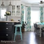 A black, white & turquoise vintage industrial kitchen filled with budget friendly DIY ideas.