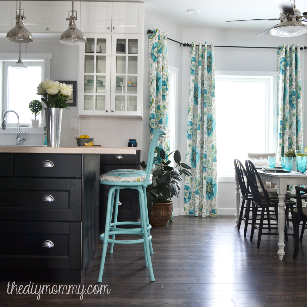A Black White And Turquoise Diy Kitchen Design With Ikea Cabinets Handmade Drapes And Diy