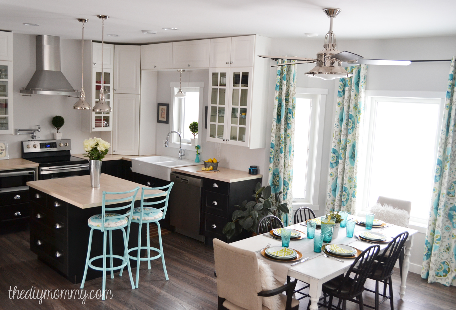 A black white and turquoise diy kitchen design with ikea cabinets handmade drapes and diy Kitchen design diy ideas