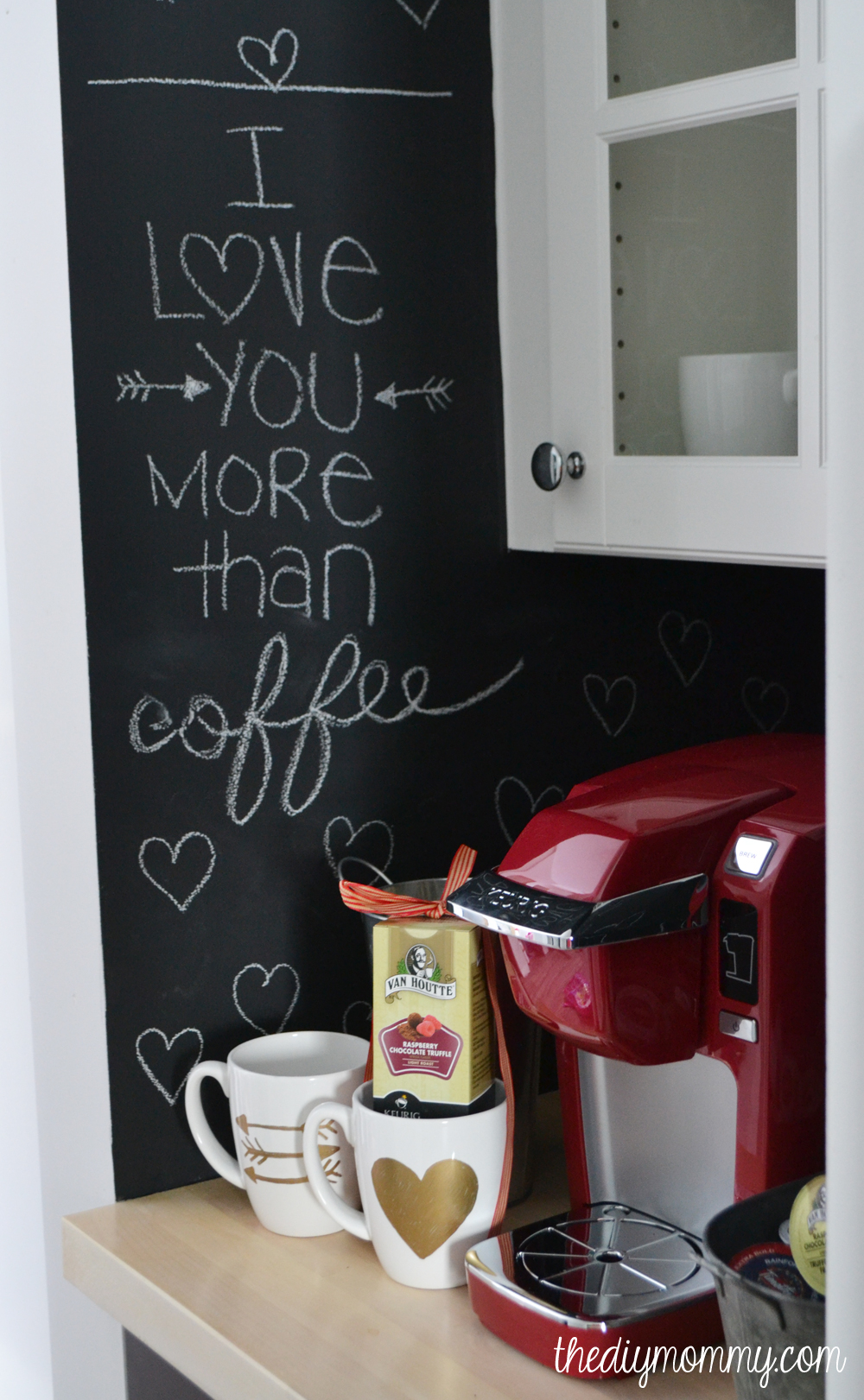 A Valentine Themed Coffee Nook with chalkboard paint, gold sharpie mugs and a red Keurig Mini Plus.