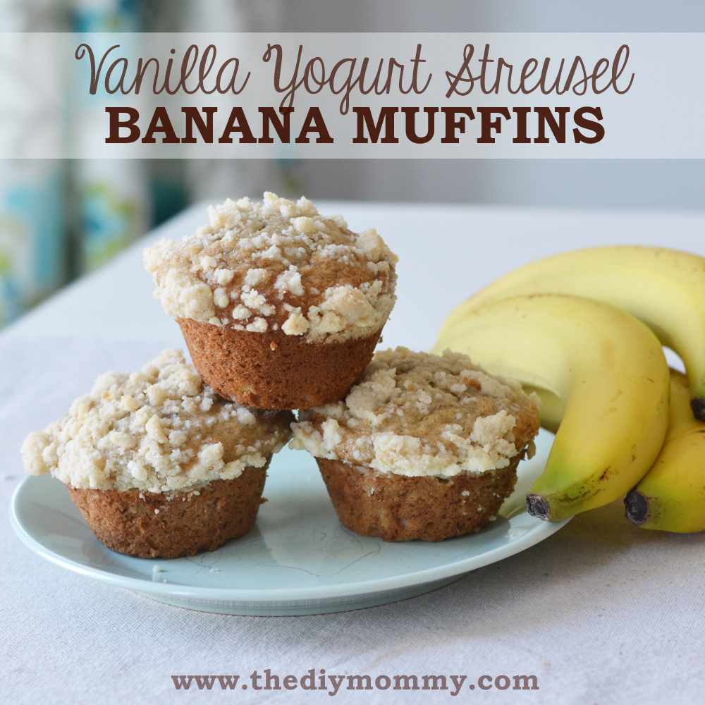 Vanilla Yogurt Streusel Banana Muffins by The DIY Mommy