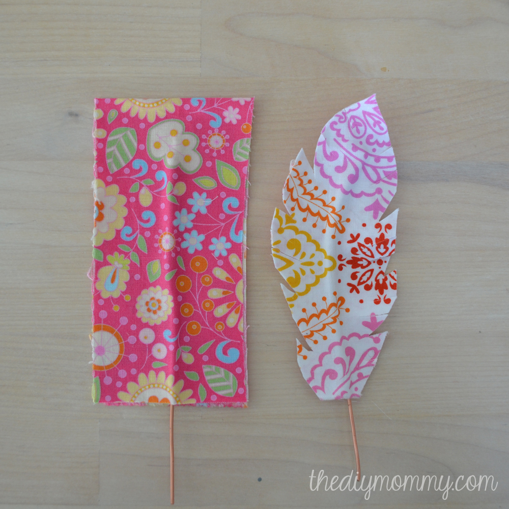 DIY Fabric Feather Wall Art - just use wire, fabric, & some Heat 'N Bond for unique artwork!