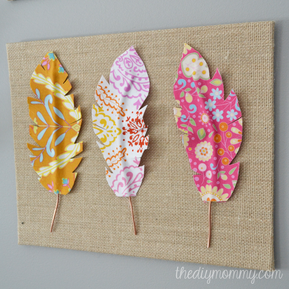 Wall Art On Cloth : Make fabric feather wall art the diy mommy