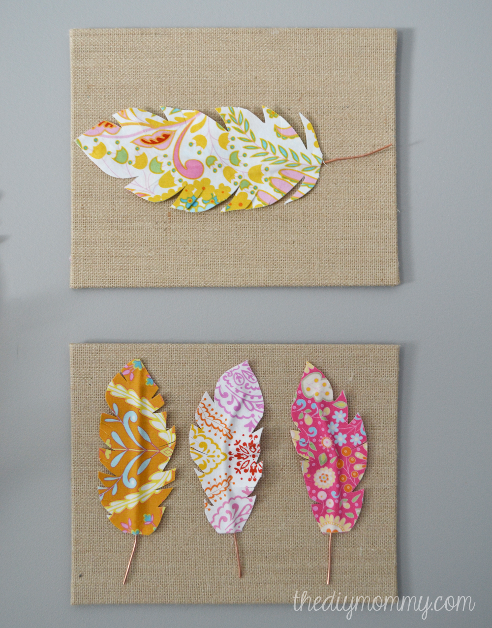 Make fabric feather wall art the diy mommy for Fabric wall art
