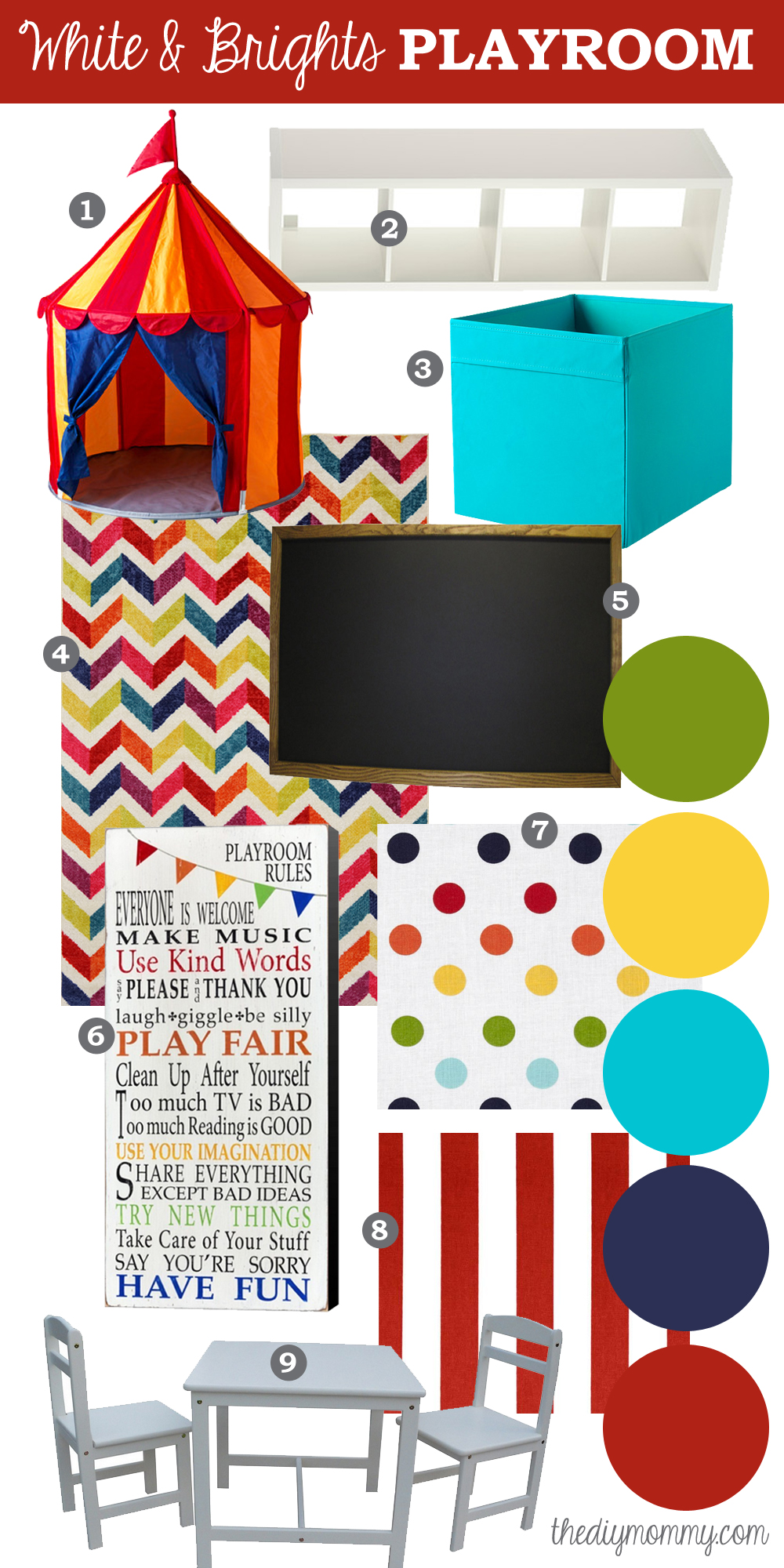 Mood Board A White Amp Brights Playroom The Diy Mommy