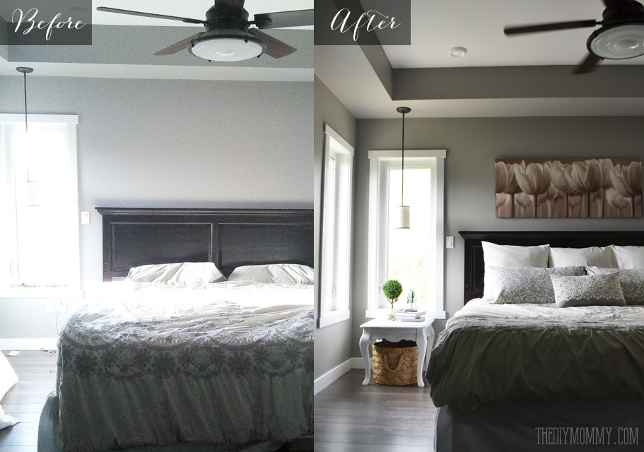 a grey and cream master bedroom design with diy pillow 11455 | before and after master bedroom our diy house
