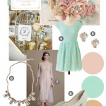 A Downton Abbey Inspired Vintage Wedding Mood Board. Colours of blush, mint and ivory are teamed with vintage inspired jewels, dresses, a fabric bouquet, birdcage centerpieces, and art deco invitations.