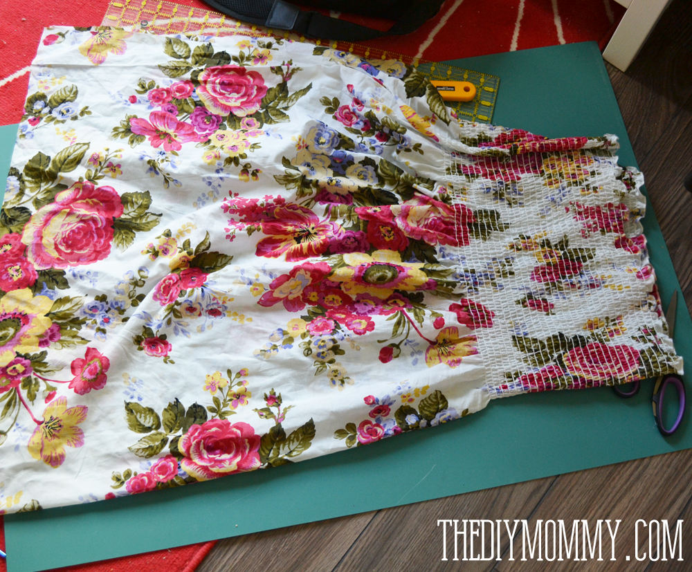 Sew an easy summer dress with pre-shirred fabric.