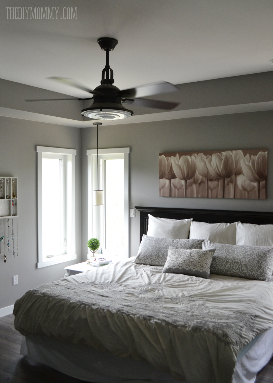 A serene grey and white master bedroom with DIY pillows. Our Modern French Country Master Bedroom   One Room Challenge