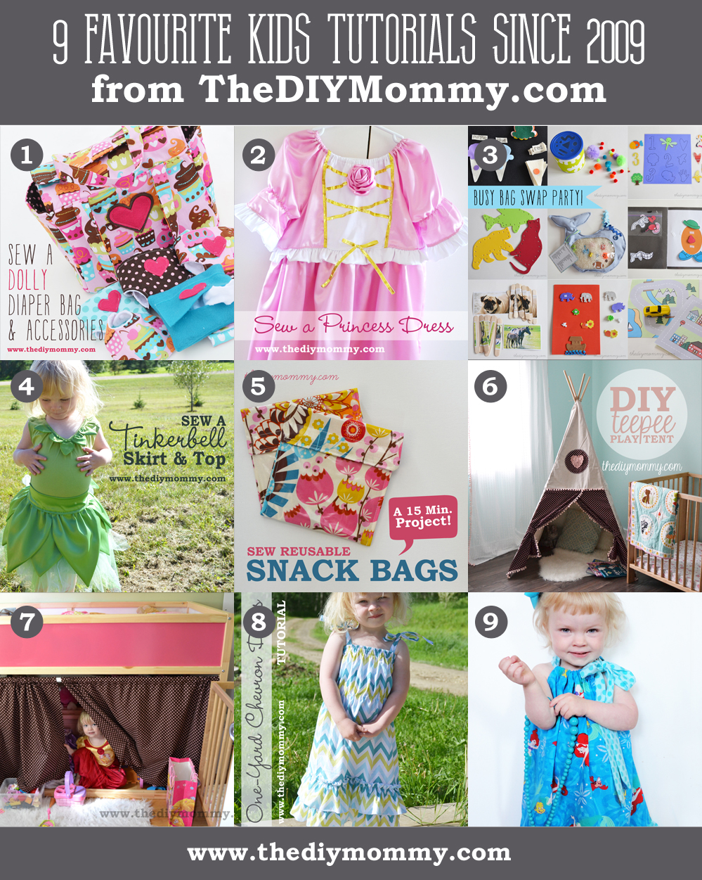 The 9 Favourite DIY Kid's Tutorials on The DIY Mommy from 2009-2014