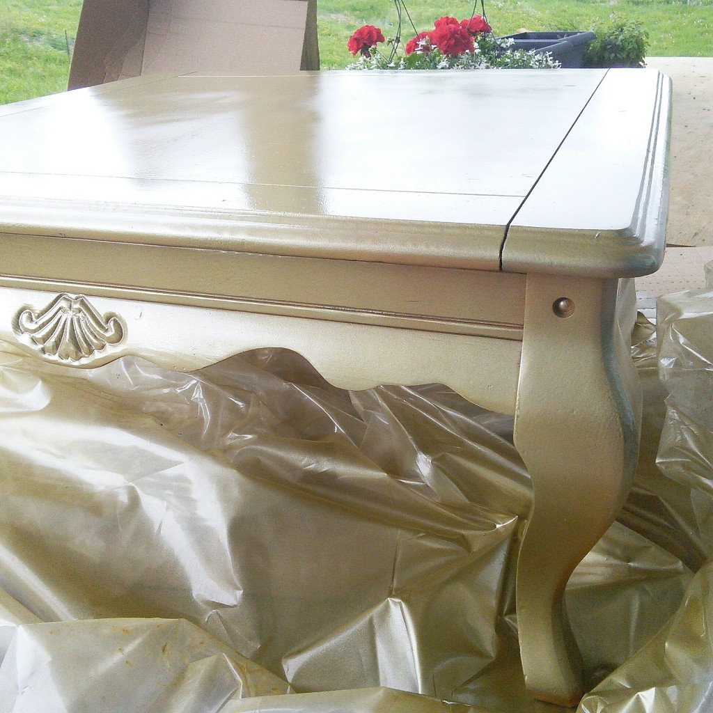 Gold spray painted table