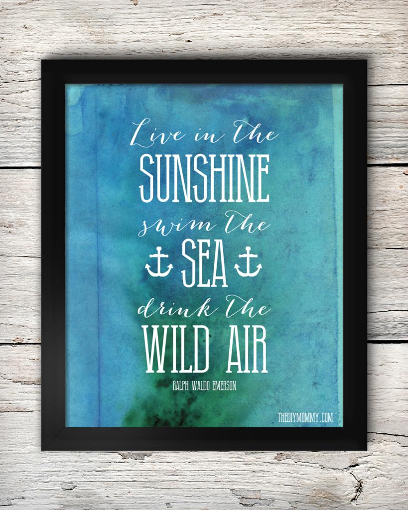 Free Summer Printable Artwork - Live in the Sunshine, Ralph Waldo Emerson