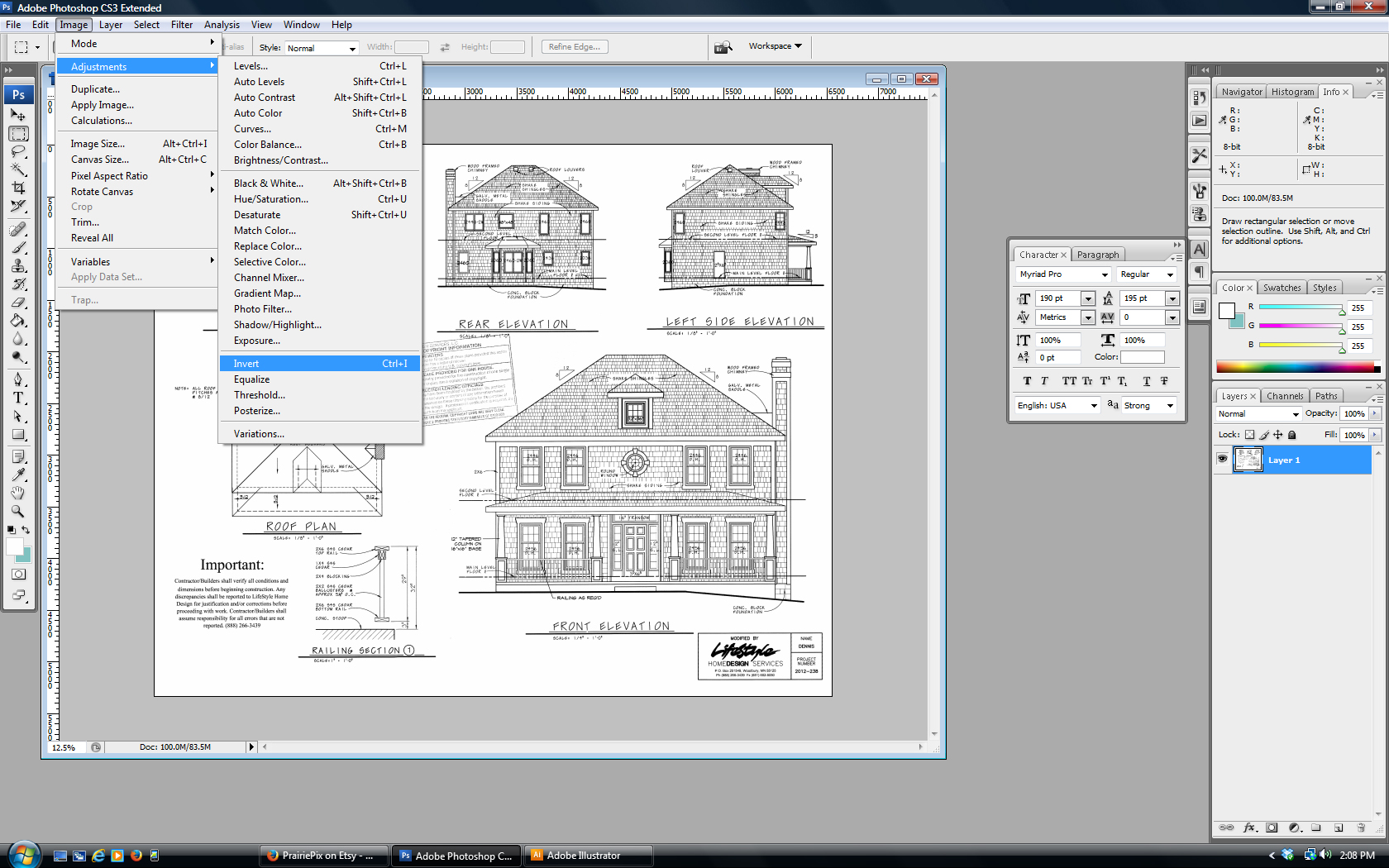 Make vintage blueprint artwork from your house plan with House blueprint maker