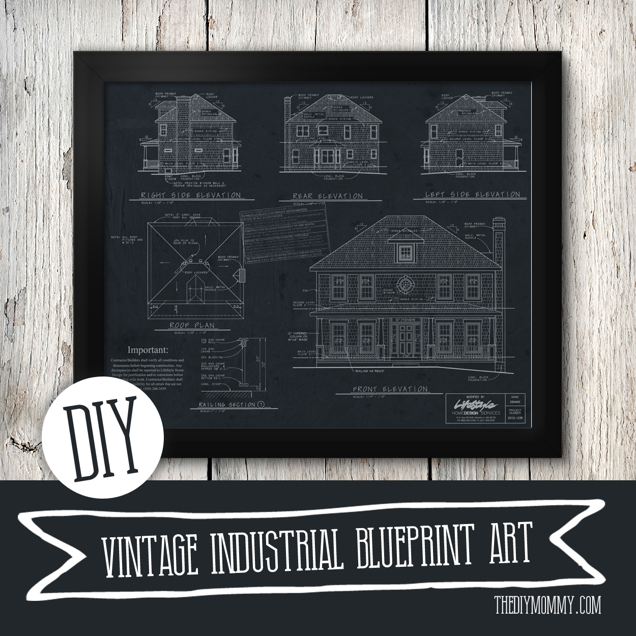 how to make restoration hardware inspired vintage blueprint artwork from your house plan - How To Draw A Blueprint For A House