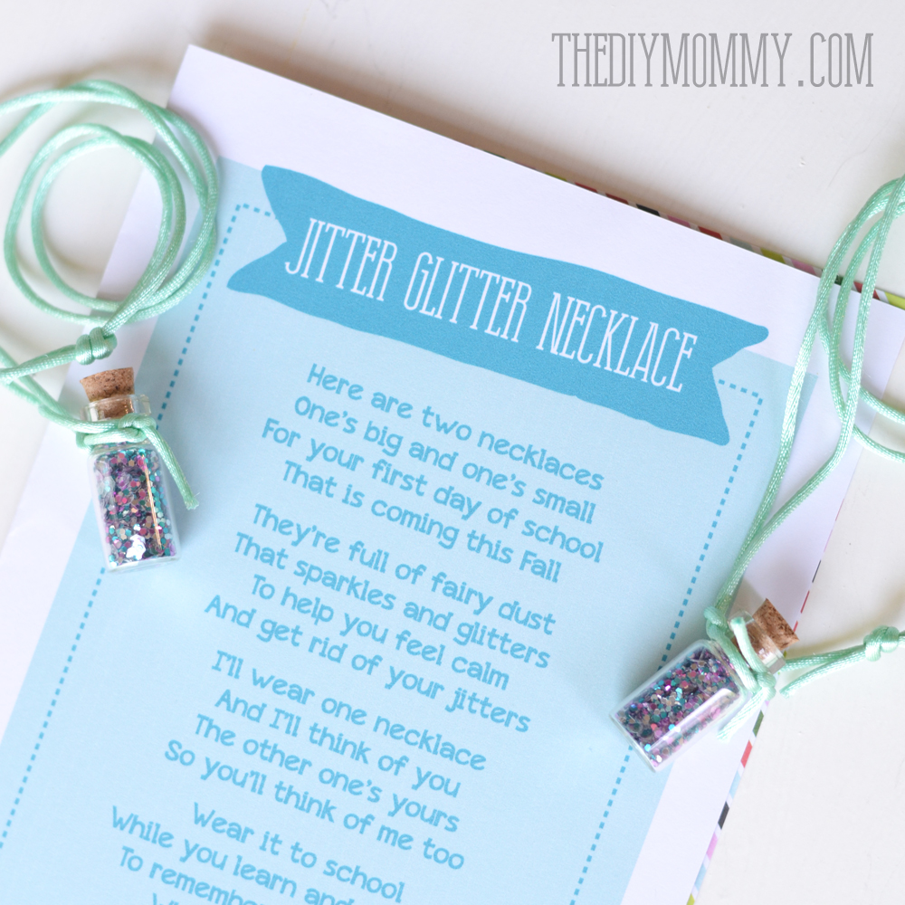 image relating to Jitter Glitter Poem Printable identified as Do it yourself Jitter Glitter Necklace Again in the direction of College Present + Free of charge