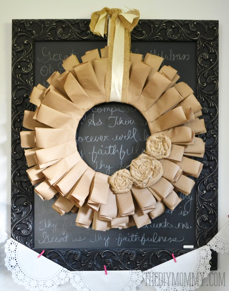 A Brown Paper Book Page And Burlap Rosette Fall Wreath