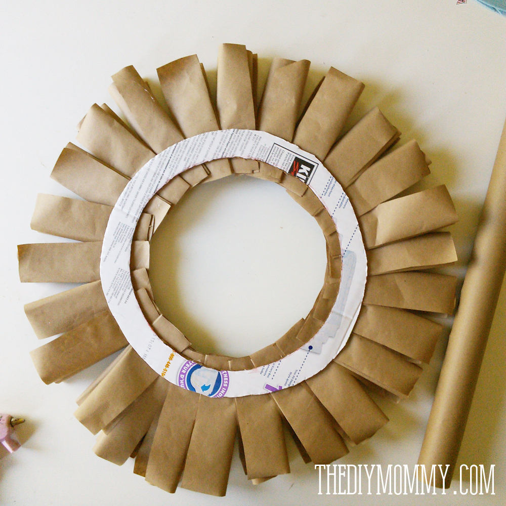 DIY Recycled Brown Paper & Rolled Burlap Roses Fall Wreath