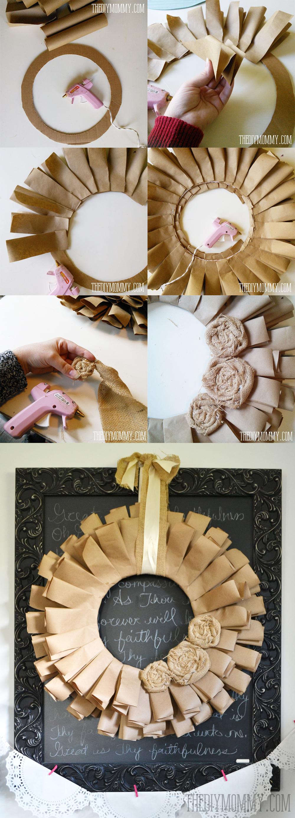 DIY Recycled Brown Paper & Rolled Burlap Roses Fall Wreath