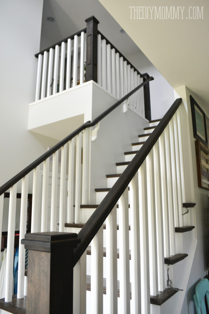 Ebony stain and white craftsman stair railings
