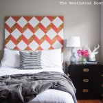 DIY coral geometric headboard