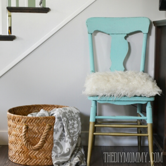 Turquoise and Gold Dipped Chair Makeover