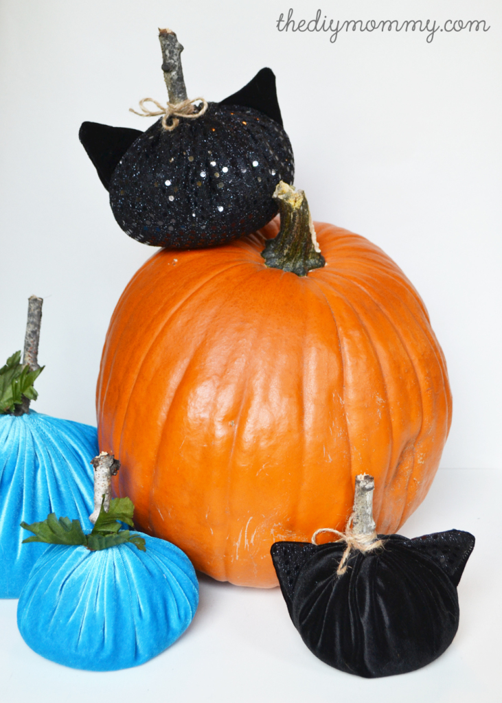 DIY Black Cat Velvet Pumpkins Decorations