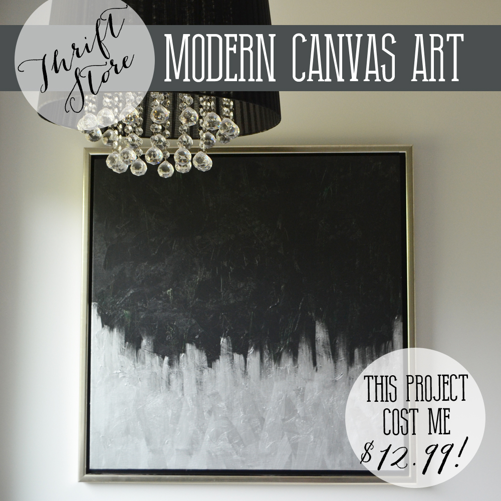 115be2f04ab  13 DIY Silver   Black Modern Canvas Art from a Thrifted Painting