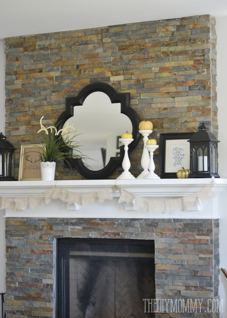 "Rustic Glam Fall Mantel Decor on a Budget + Free ""Give Thanks"" Antler Printable"