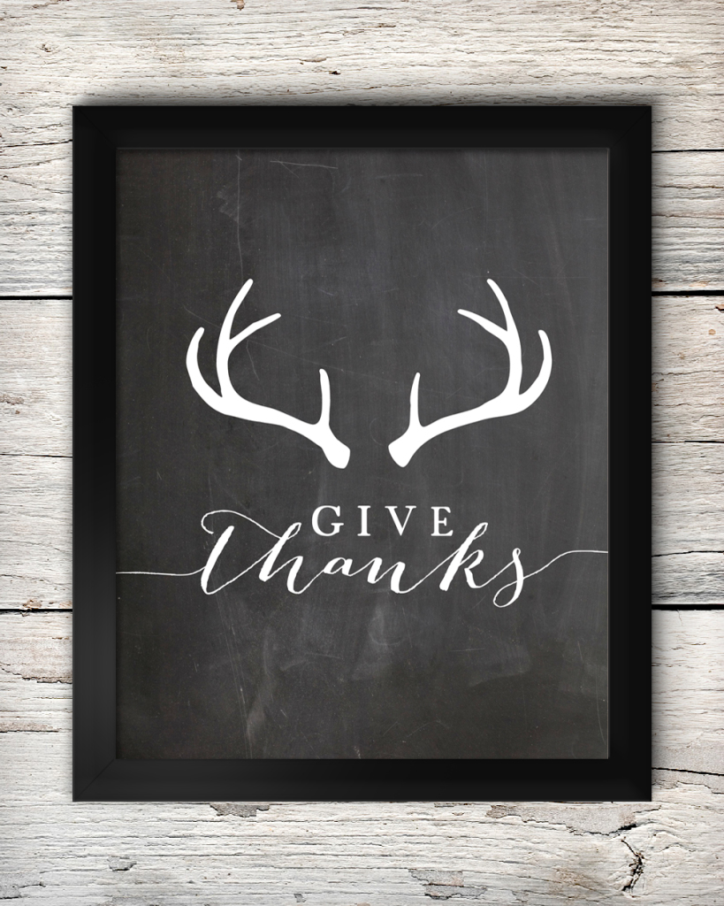 "Free ""Give Thanks"" Antler Printable"