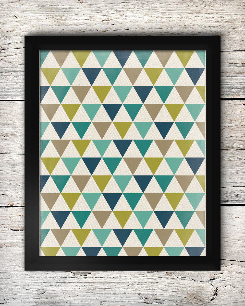 Free Teal, Navy, Chartreuse Green & Grey Traingles Art Printable