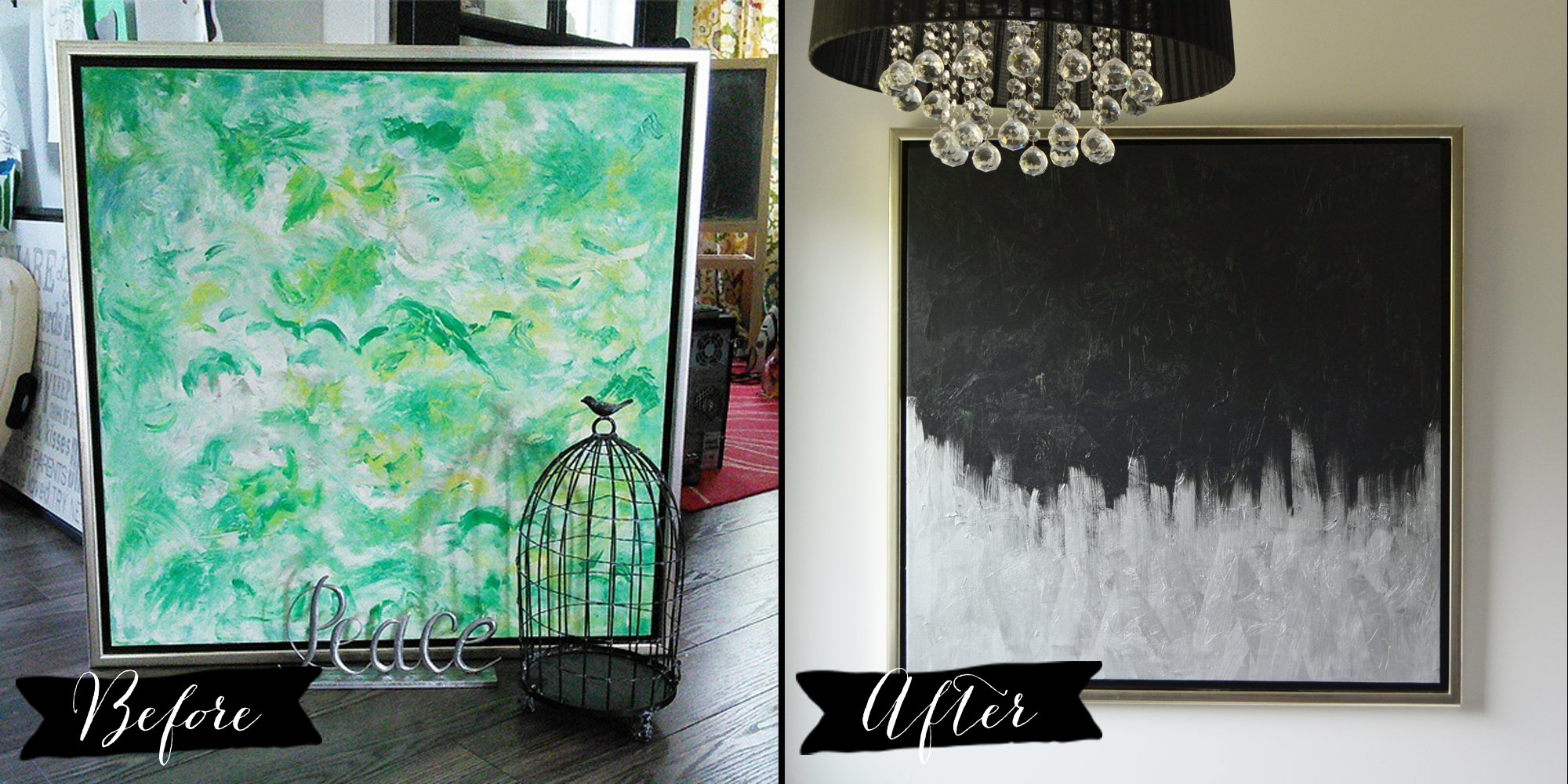 Make modern artwork from thrift store canvas art the diy for Buy canvas wall art
