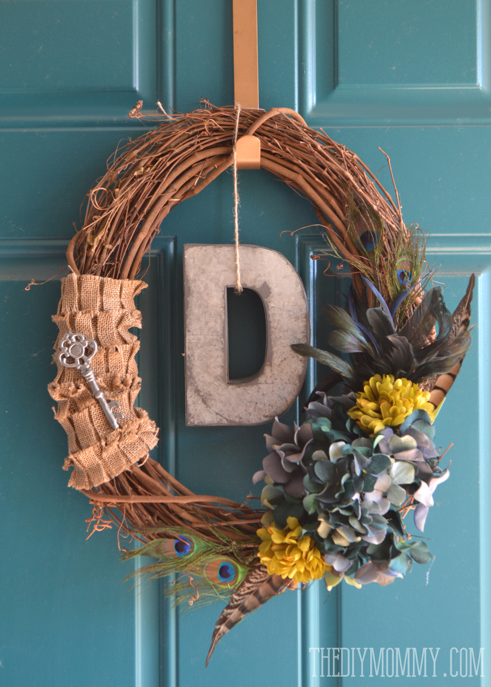 Fall Wreath Ideas Part - 44: A Vintage Inspired Teal Fall Wreath With Burlap, Feathers, Hydrangeas, And  A Monogram