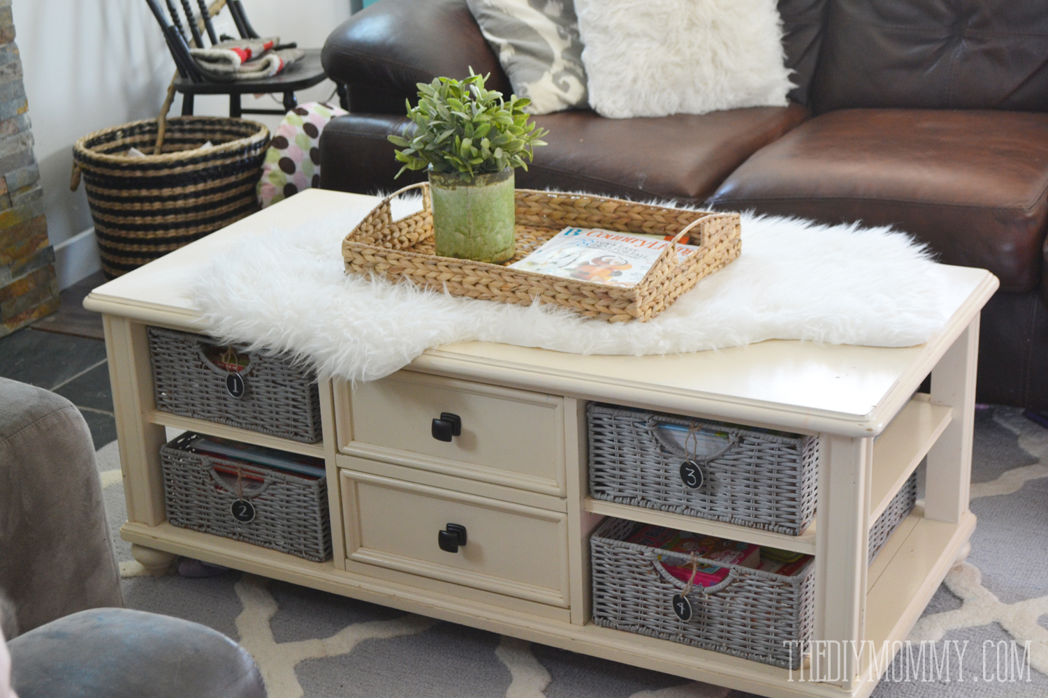 How To Paint Wicker Baskets With Chalk Paint An Easy Coffee Table