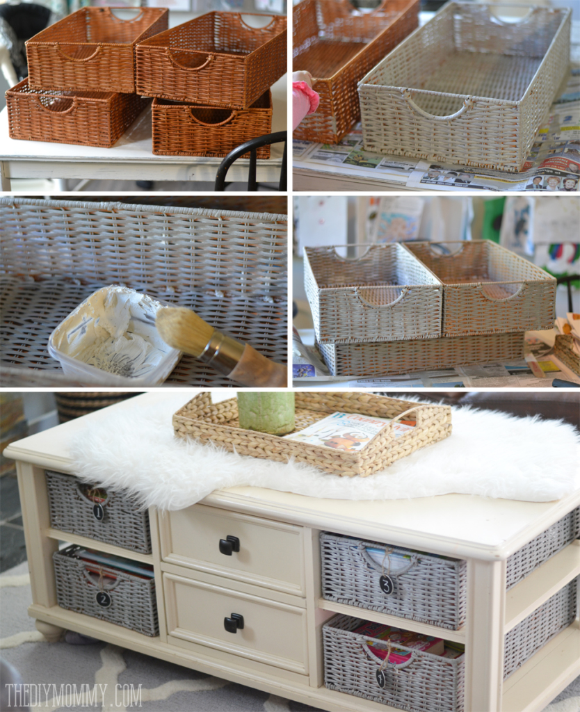 How to paint wicker baskets with Chalk Paint - An Easy Coffee Table Makeover