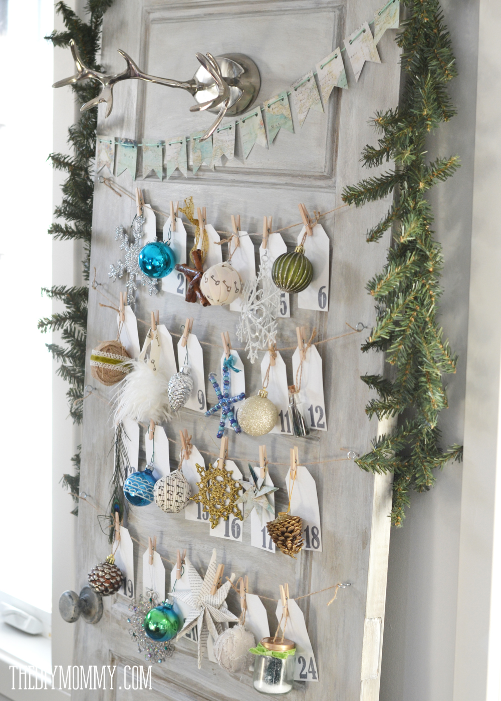 Make a daily ornament advent calendar from an old door for Advent decoration ideas