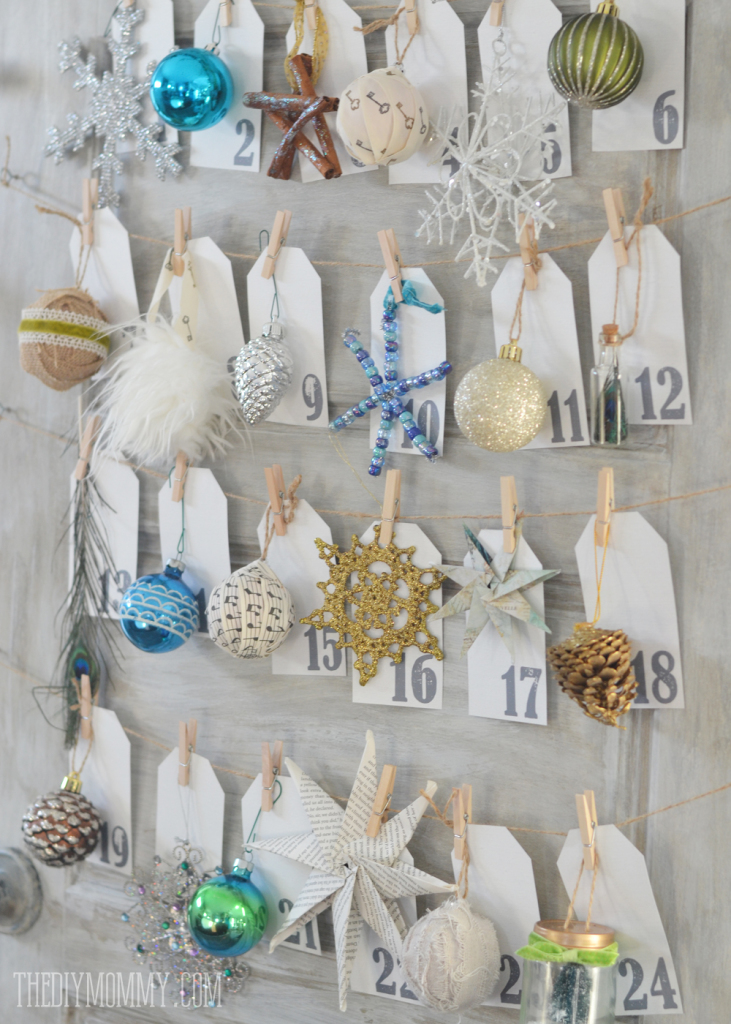 A DIY Christmas ornament advent calendar made from an old door