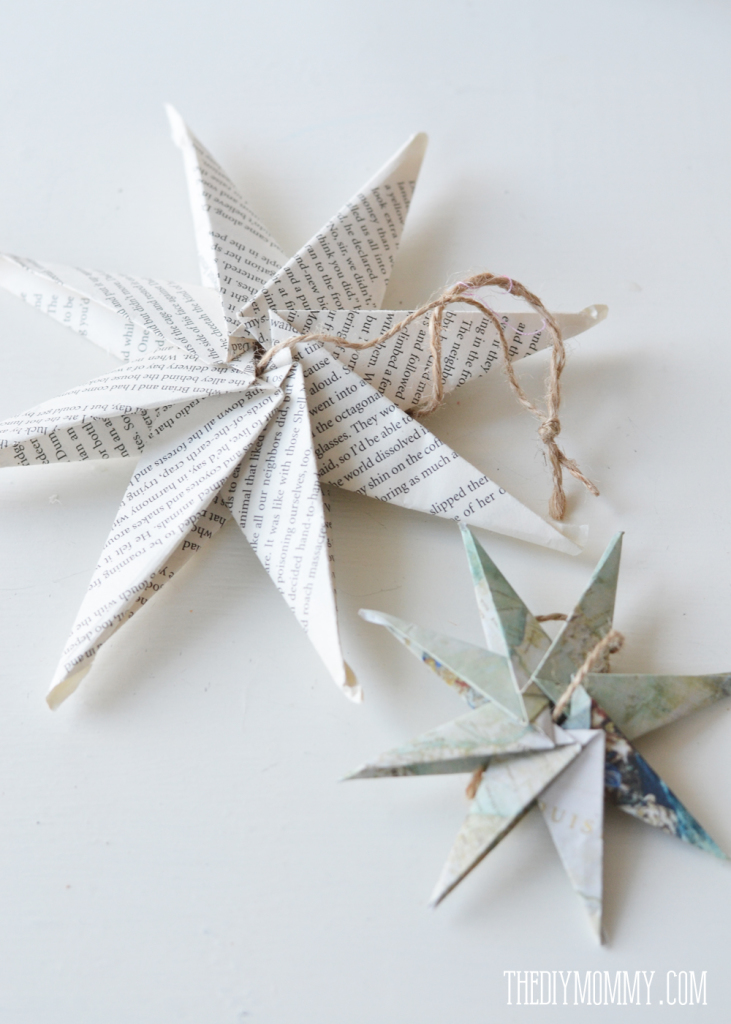 How to make an 8 pointed paper star from book pages or maps. Makes a beautiful Christmas ornament!