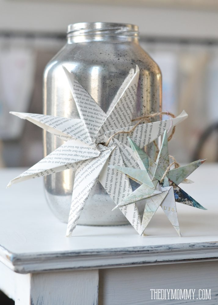Diy christmas ornament book page or map paper star the for Diy paper stars