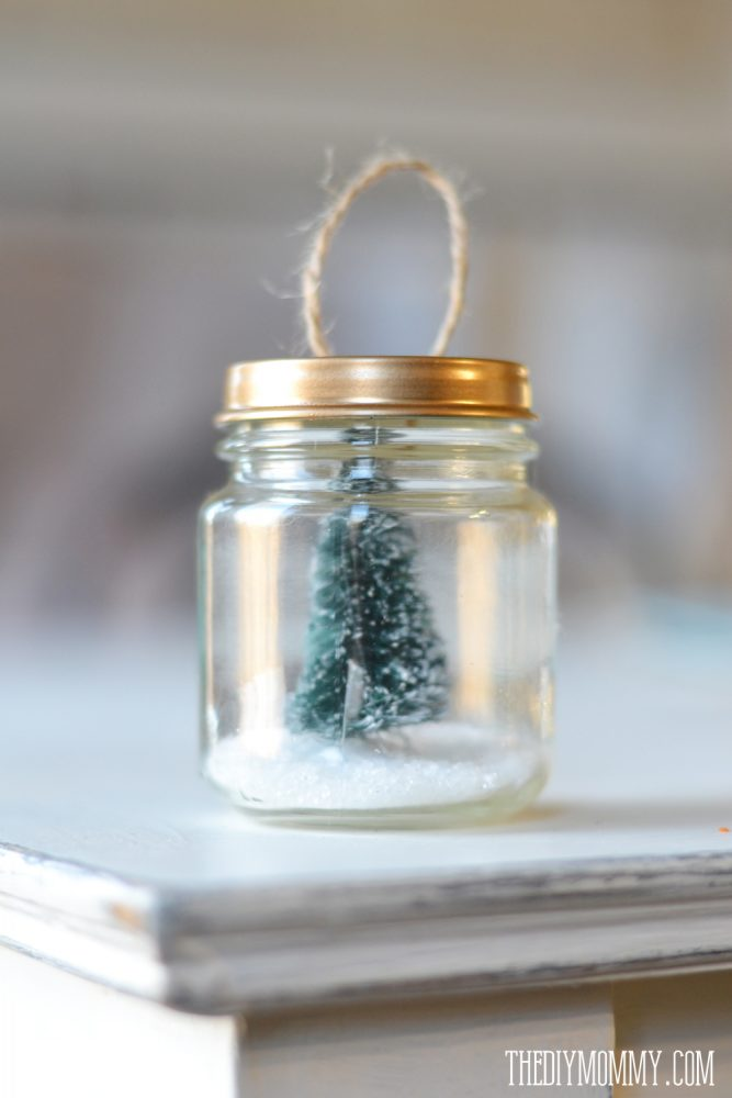 diy christmas ornament  a recycled baby food jar tree snow